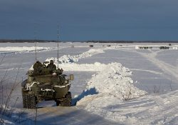 YELLOWKNIFE, N.W.T. : FEBRUARY, 14, 2012: Ñ A Canadian LAV Coyote drives up an ice road created near Behchoko, N.W.T.  during Exercise Arctic Ram near Yellowknife on February 14, 2012. Approximately 1,500 Canadian soldiers and Rangers participated in Arctic Ram to re-familiarize the army with a harsh winter environment and to exercise Canada's Arctic sovereignty.  (Ryan Jackson / Edmonton Journal)